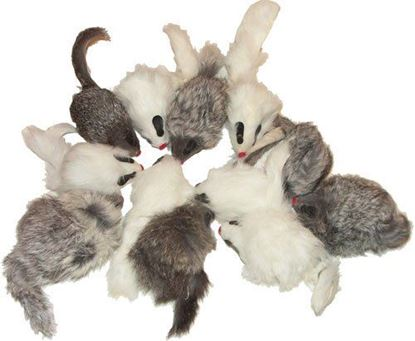 Picture of Rattling Long Hair Fur Mice - 12 pack